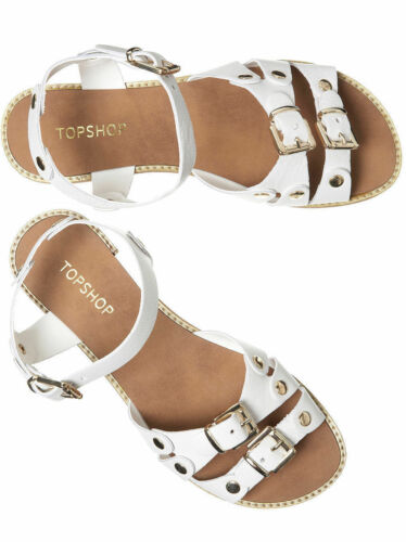 Leather Genuine Shoes Topshop Flat New Sandals Roman Buckle Strappy White q4p5avE