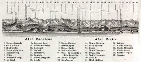 Industrioso Alpi Carniche E Alpi Giulie. Tutte Le Alpi.13. Stampa Antica + Passepartout.1890 Facile E Semplice Da Gestire