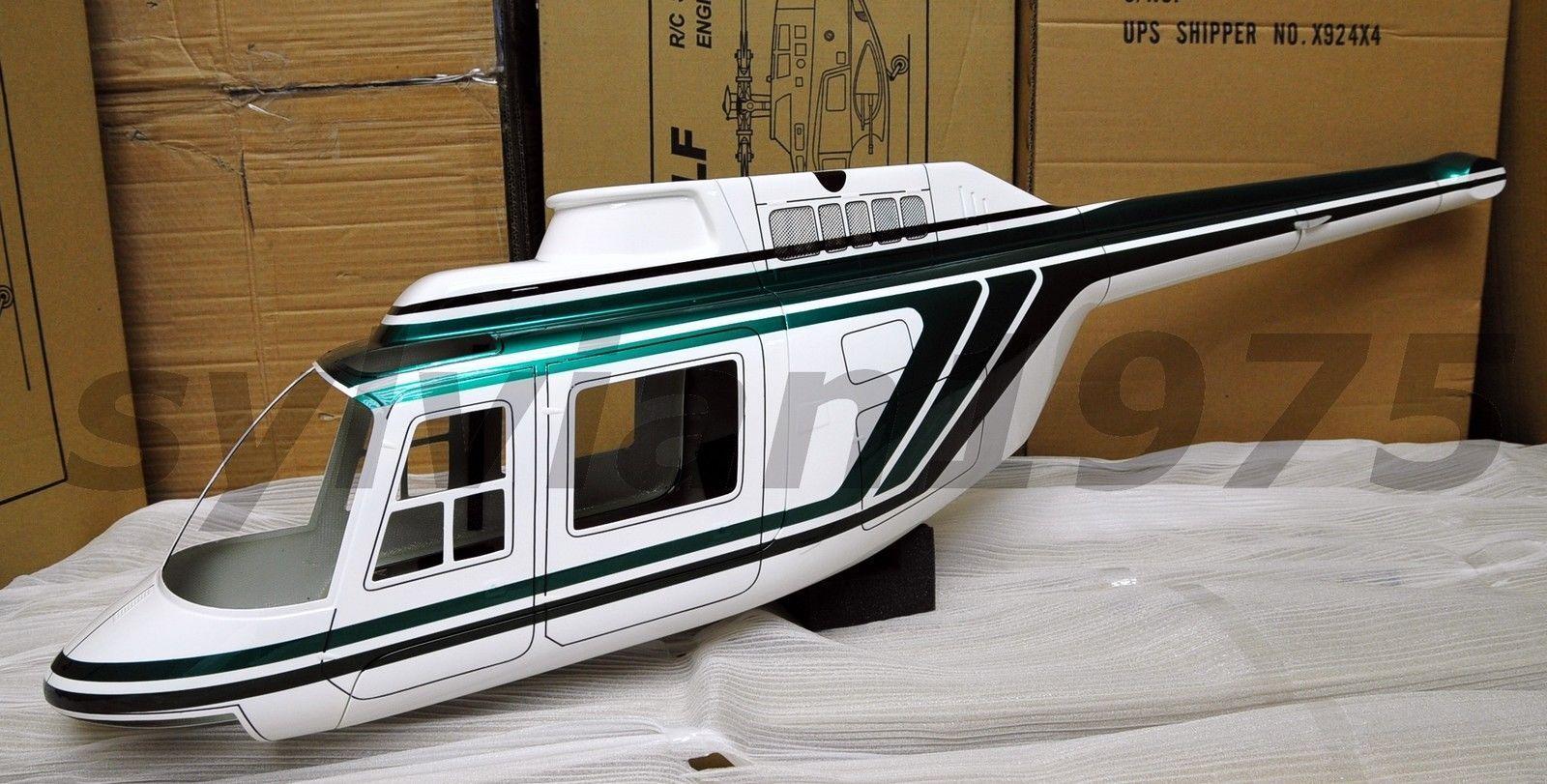 Funkey Jet Ranger escala fuselaje para 600 tamaño verde + Landing Skid Nuevo En Caja