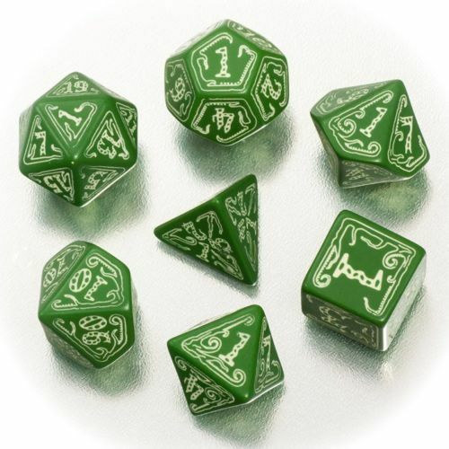 the Official Call of Cthulhu RPG Dice Set GreenPhospho, New, Glow in the Dark