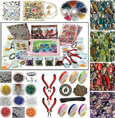 Deluxe Adults Jewellery Making Beads Mix Pliers Findings Starter Kit Gift Set