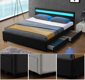 Design-en-Cuir-LED-Lit-Sommier-Double-140-ou-180-x-200-bed-BLANC-NOIR-ou-GRIS