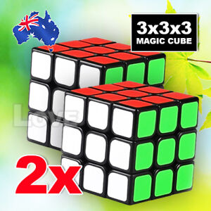 2x-Stock-Magic-Cube-3x3x3-Super-Smooth-Fast-Speed-Rubik-Puzzle-Rubics-Rubix