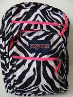 Jansport Girls Big Student Backpack Zebra Pink Book Bag Padded School