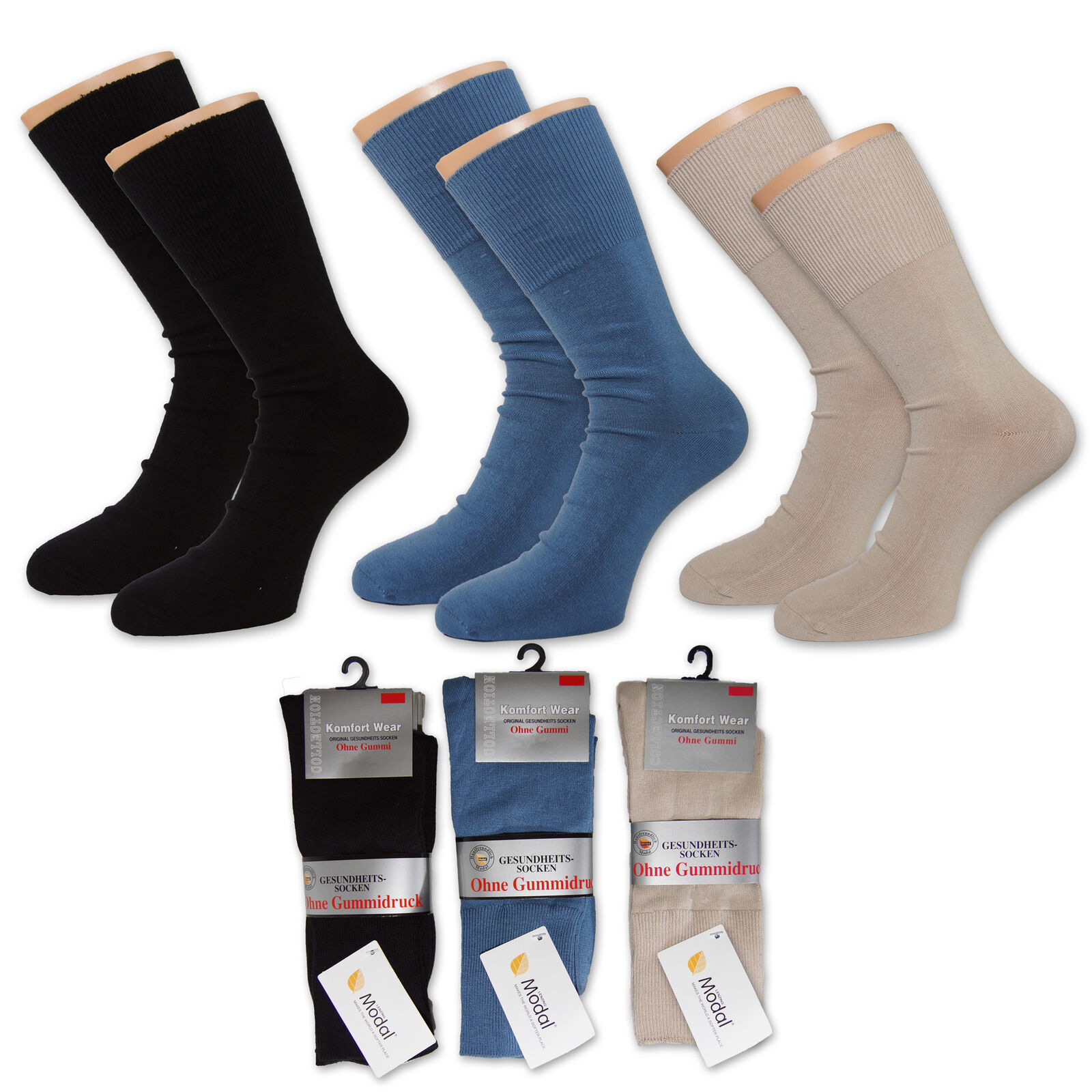 12 Paar Lenzing Modal® Gesundheits Socken Strümpfe Ohne Gummidruck Diabetiker
