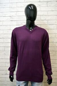 Maglione-Uomo-TOMMY-HILFIGER-Taglia-2XL-Pullover-Cotone-Cardigan-Sweater-Viola