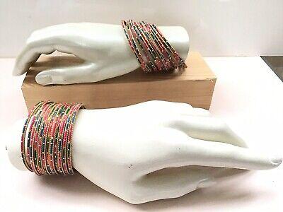 Affidabile Donna Blu/verde/rosa E Metallo Dorato Bracciali Asiatico Chudiyan-mostra Il Titolo Originale