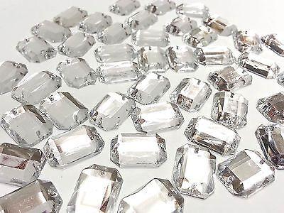 50 13 18mm à coudre facettes transparent rectangle Acrylique strass