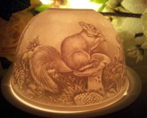 Streifenhörnchen Eichhörnchen Wald Landhaus Windlicht Lithophanie Porzellan Weiß
