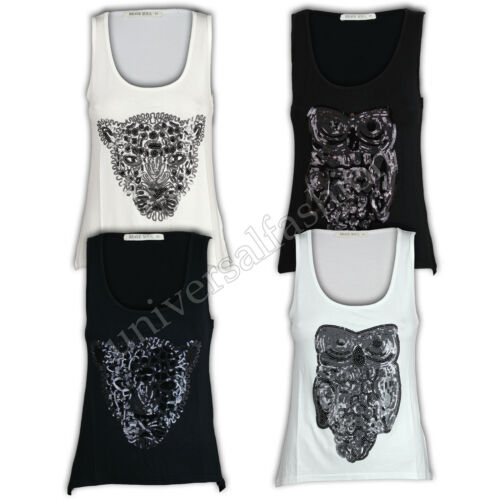 Ladies Vest Womens Brave Soul Tank Top T Shirt Simba Hedwig Sequin Summer Casual