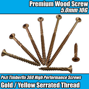 9g TIMBERFIX 360 PREMIUM CUTTER THREAD GOLD WOOD SCREWS CSK POZI DRIVE 4.5mm
