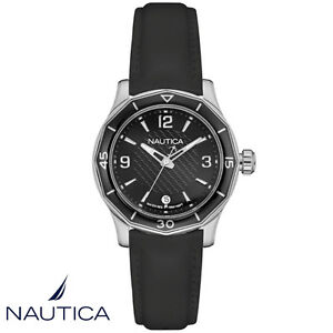 Nautica-NAD12539L-NWS-01-Armband-Uhr-Damen-Kautschuk-schwarz-NEU