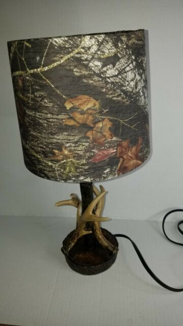 """Mossy Oak Deer Antler Accent Lamp Camouflage Shade Home Cabin Decor 16.5"""" D"""