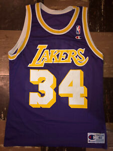 Details about SHAQUILLE O'NEAL Vtg 90's Purple LOS ANGELES LAKERS CHAMPION Jersey lsu Sz 40