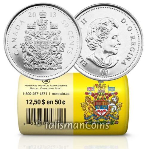 Canada 2013 Half Dollar 25 x Coat of Arms 50 Cents BU Special Mint Wrap Roll