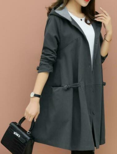 Womens Hooded Long Loose Fit Trench Coat Fashion Casual Jacket Overcoat Outwear
