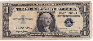 1957 A One Dollar  Silver Certificate Small Size Currency  G39609085A