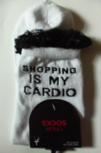 Ladies White Ankle Socks with /'Shopping is my Cardio/' design