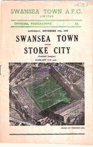 SWANSEA TOWN now CITY v STOKE 19 SEP 1959 PROGRAMME