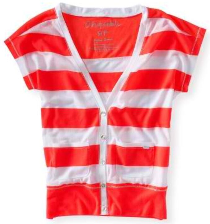 NEW Aeropostale Womens Bright Neon orange Striped Button Up Cardigan Sz XL XXL