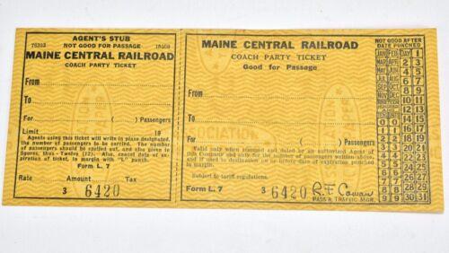 Vintage Maine Central Railroad Ticket Coach Party Ticket SM2A