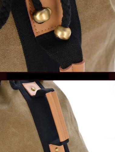 Vintage style rétro toile /& cuir synthétique sac à dos sac à dos école ordinateur portable duffle