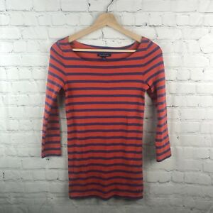 American-Eagle-XS-Orange-Purple-Tee-Shirt-Women-s-Casual-Stripes-3-4-Sleeves