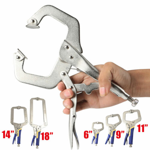 "6-18/"" Adjustable C Clamp Locking Pliers Mole Grip Welding Clamps Multifunction"