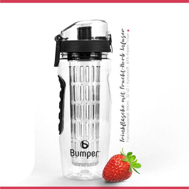 Trinkflasche mit Fruchteinsatz Infuser Wasserflasche Sportflasche Black  Bumper