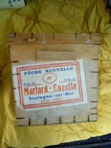 Alte-Schachtel-Holz-10-kg-Hering-Salty-Marlard-cozette-Angeln-Boulogne-Sur-Mer