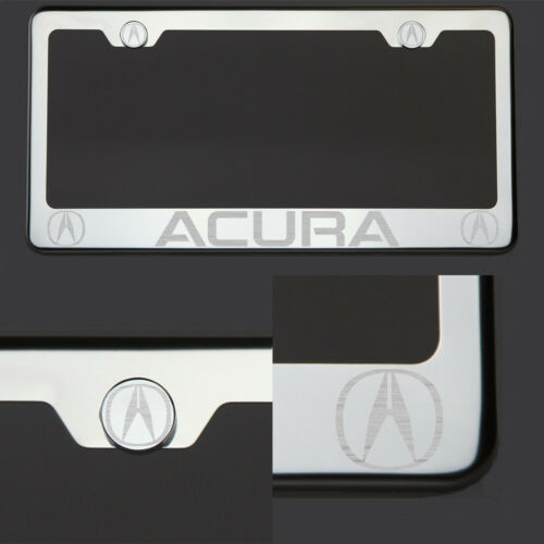 Polish Mirror Stainless Steel Acura Laser Etched License Plate Frame Screw Cap
