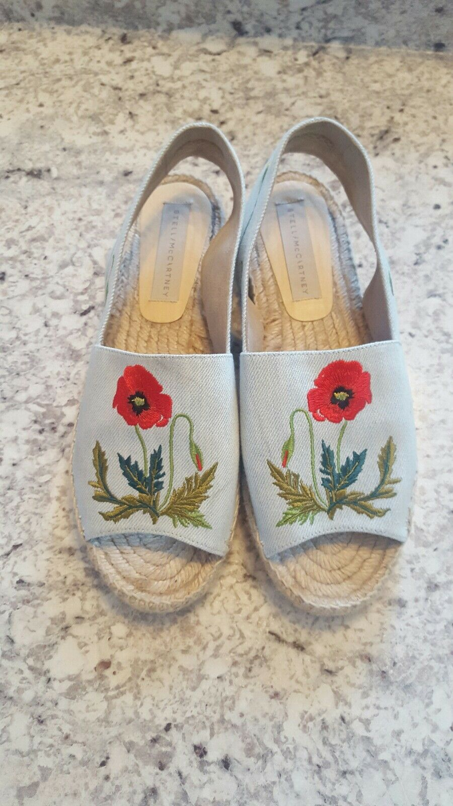 Stella McCartney Embroidered Floral Denim Slingback Espadrilles Eur 39 US 9  758