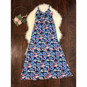 ModCloth-Talla-S-Azul-Vestido-Maxi-Cuello-en-V-Floral