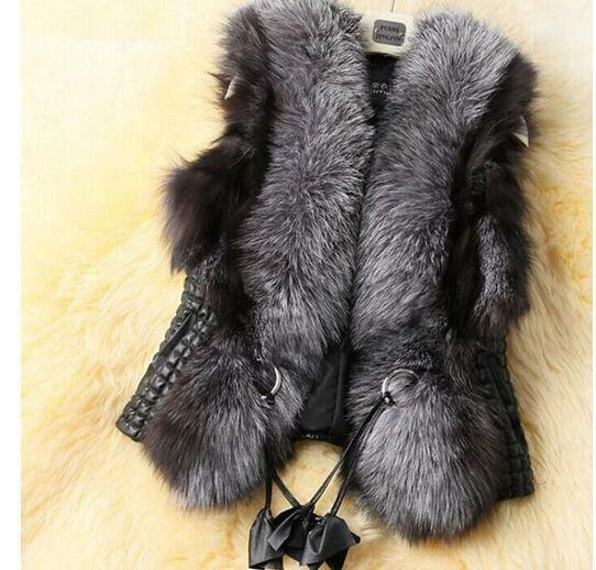 Womens Warm Faux Fur Lapel Collar Slim Fit Vest Mixed Winter Overwear Short Coat