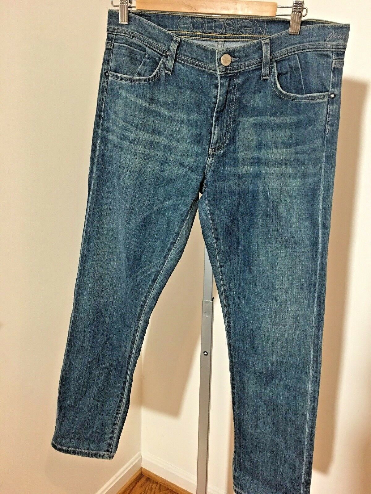 NWT -goldsign Jeans Jenny Straight Crop In Mid Wash (32)