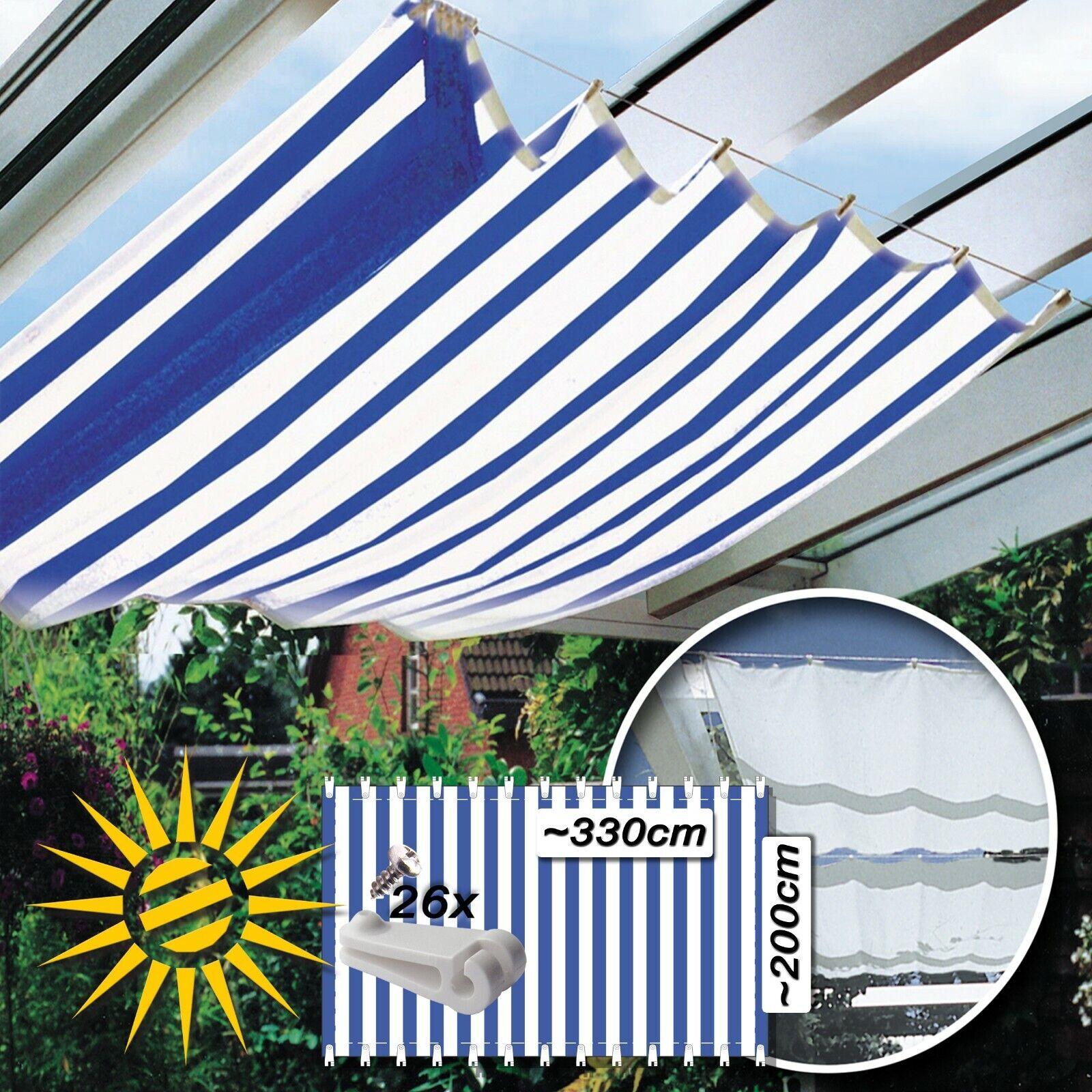 Sonnensegel blau weiss ca 330x200 26 Laufhaken für Seilspannmarkise Wintergarten