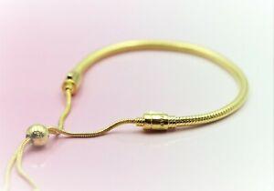 "New Authentic Pandora 567110 SHINE Gold Snake Chain Slider Bracelet (11"" /28cm)"