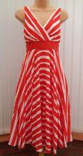 MONSOON MENA ORIANE RED WHITE STRIPE SILK MIX 50'S DRESS 12 TWICE £135