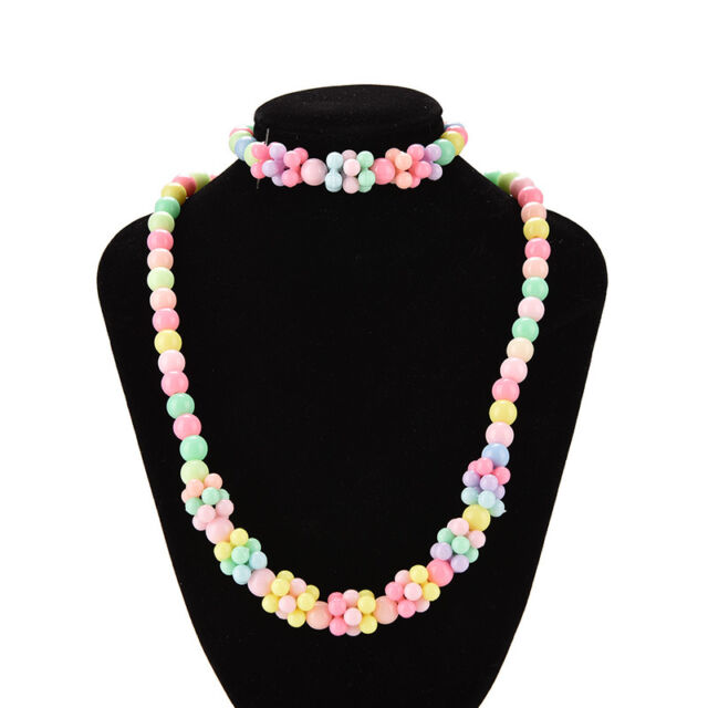 1 Set Girls Necklace Bracelet Set Fashion Charm Necklace Kids Multicolor fiHV