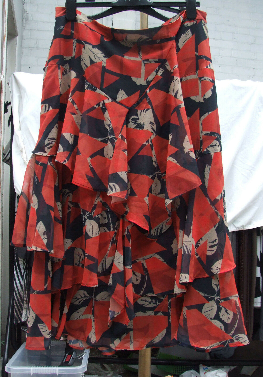 Marks & Spencer M&S Absolutely Wonderful Red Multi Sheer Flippy Skirt XXL