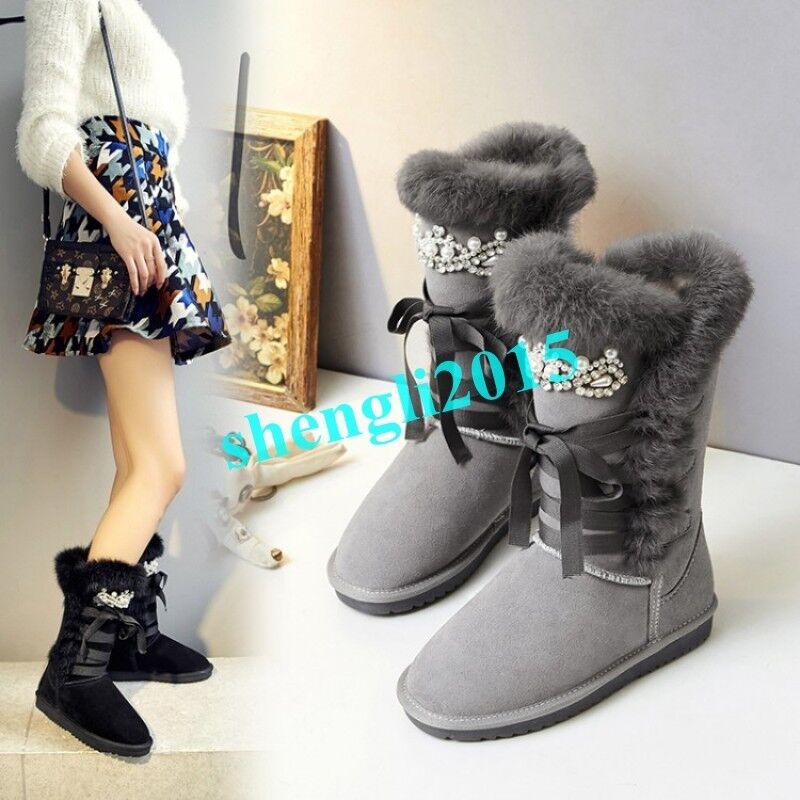 Fashion Womens Fur Trim Winter Thicken Warm Mid-calf Snow Boots Rhinestone Beads