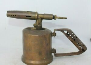 Express-Unis-France-no-19-Vintage-brass-blow-lamp-torch-antique
