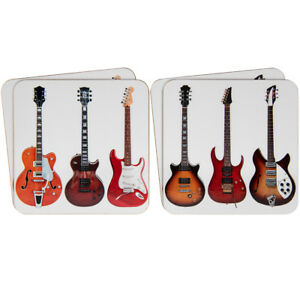 Set-of-Four-Guitar-Coasters-Cork-Backed-coasters-Music-Fans-Kitchen-Decor