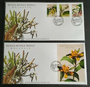 2001-Malaysia-Scented-Flowers-Bunga-Wangi-Stamps-amp-MS-pair-FDC-KL-cachet-Lot-B