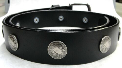 New Manzoor Black Full Grain Leather Belt Indian Head High Quality Made in USA