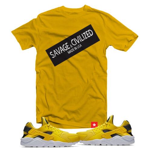 """/""""Savage /& civilisé/"""" Chemise pour correspondre à air huarache Tour Yellow taille S-3XL"""
