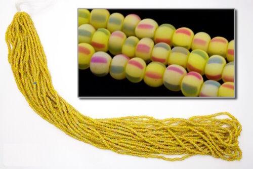 10 Gm, Hank, 1//2 Kilo #CSG227 11//0 Matte Rasta Stripe Czech Seed Bead