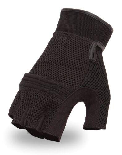 First MFG Men/'s Fingerless Breathable Mesh Gel-Palm Biker Motorcycle Gloves