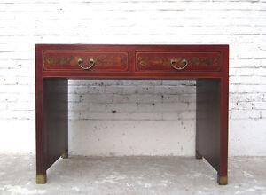 Details Zu China Kleiner Sekretär Tisch Braun Lederfinish Vintage Holz