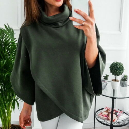 Damen Hoher Kragen Warme Hoodies Langarm Cape Jacken Lässige Tops Outwear PD